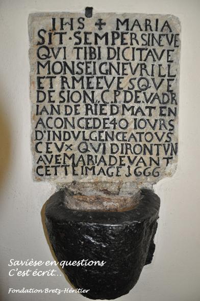 02_Chandolin, chapelle, 40 indulgences pour ceux qui diront un ave devant cette image de 1666